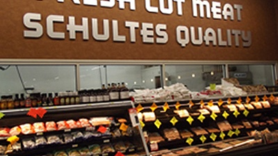 Photo of Schultes Meat Department service counter.