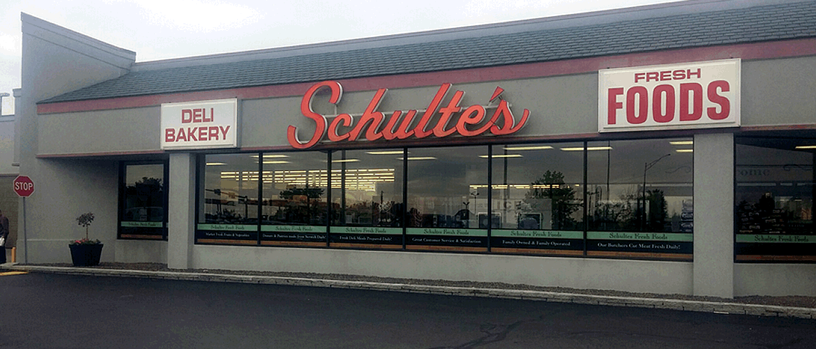 Exterior photo of Schulte's store front.
